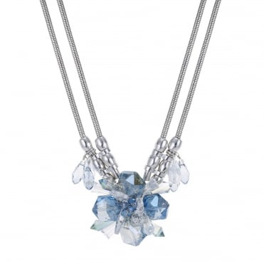 Glass flower crystal statement necklace