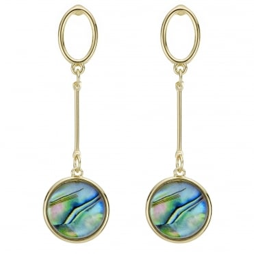 Gold abalone inspired circle earring