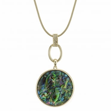 Gold abalone inspired circle necklace
