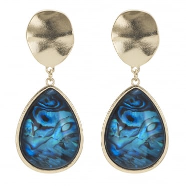 Gold abalone inspired teardrop earring