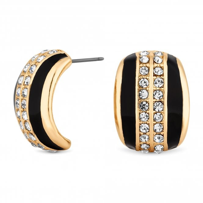 Gold And Black Crystal Curve Stud Earring