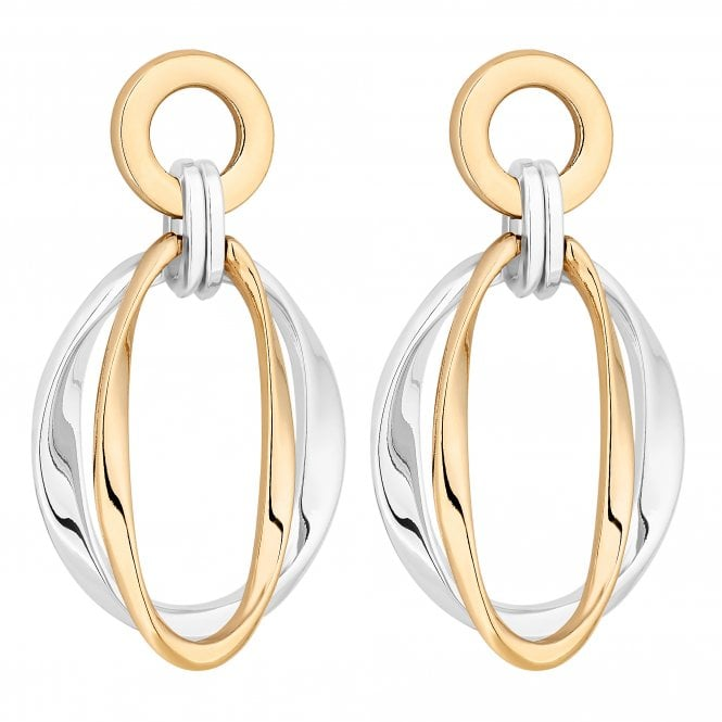 Gold And Silver Circle Drop Earring