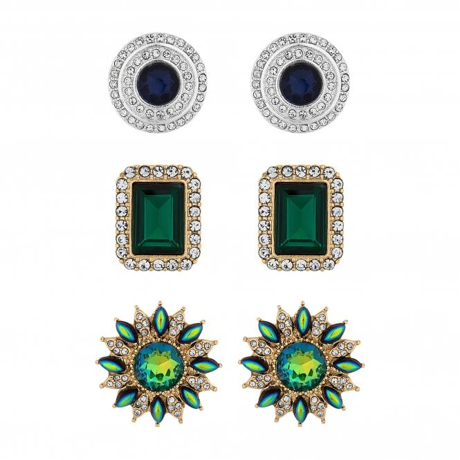 Gold And Silver Green Crystal Baroque Stud Earring Set