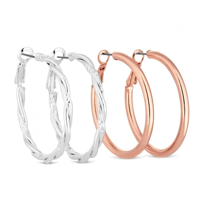 Gold And Silver Hoop Earring Set