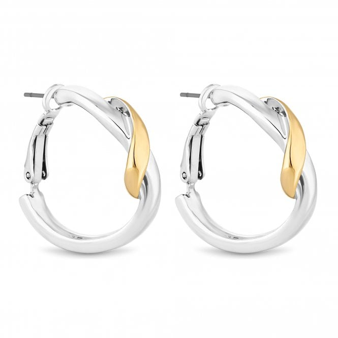 Gold And Silver Twist Hoop Earring