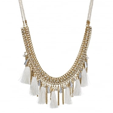 Gold bead and tassel collar necklace