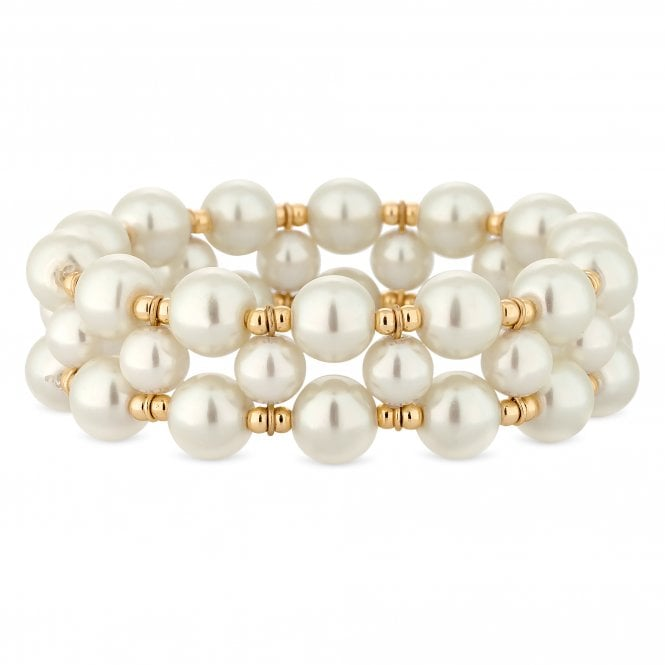 Gold Beaded Pearl Stretch Bracelet