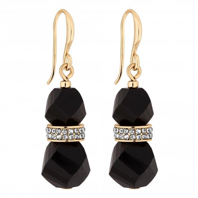 Gold Black Crystal Bead Drop Earring