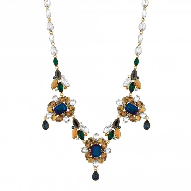 Gold Blue Crystal Baroque Statement Necklace