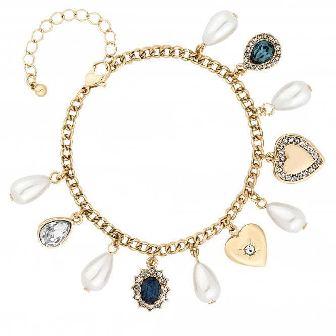 Gold Blue Crystal Charm Bracelet