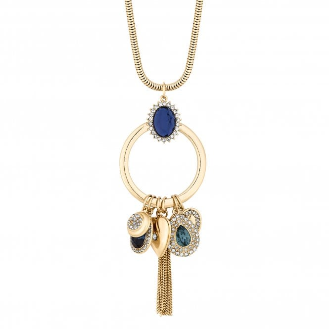 Gold Blue Crystal Charm Long Necklace