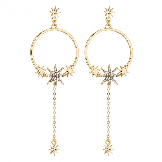 Gold Celestial Hoop Drop Earring