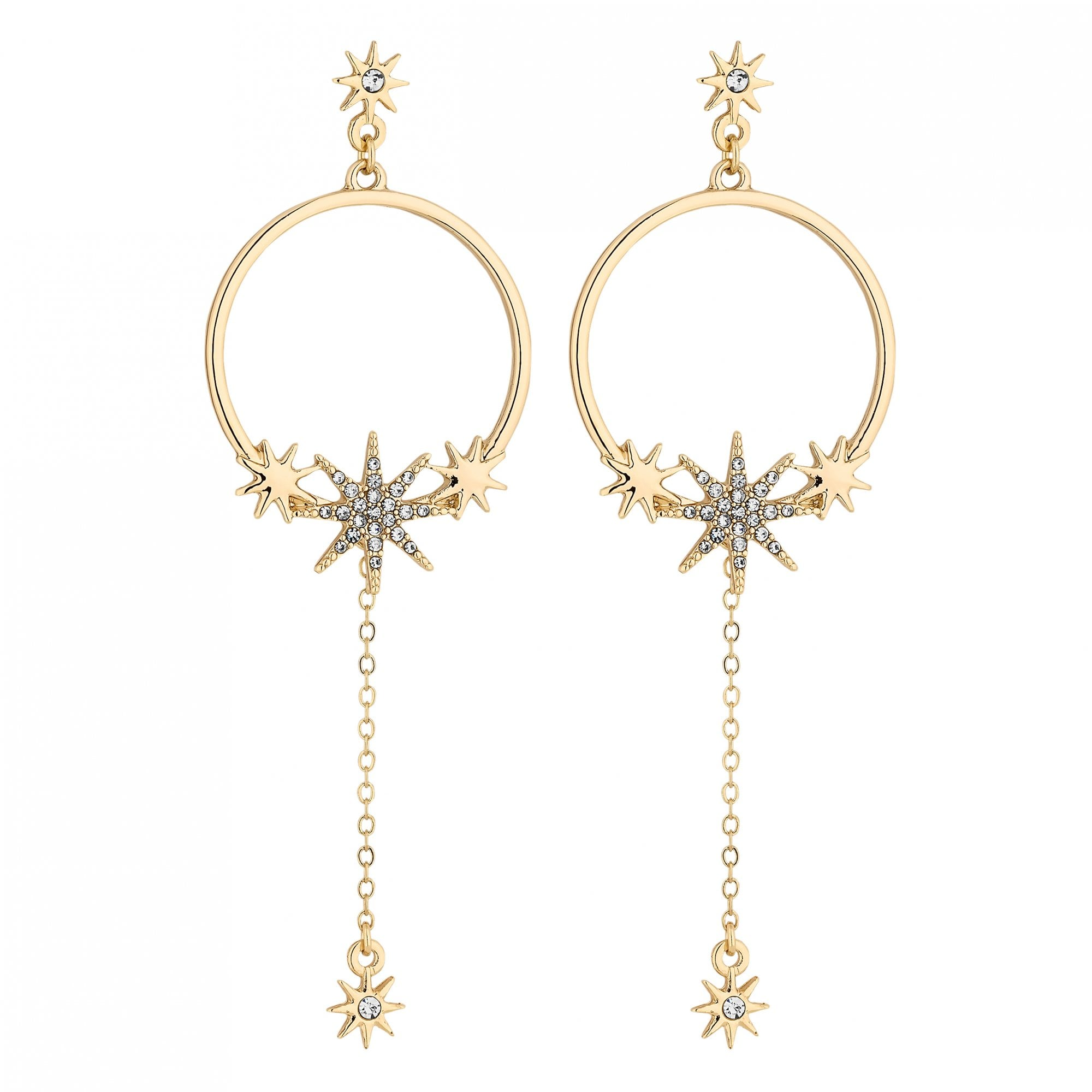 Lipsy Gold Celestial Hoop Drop Earring