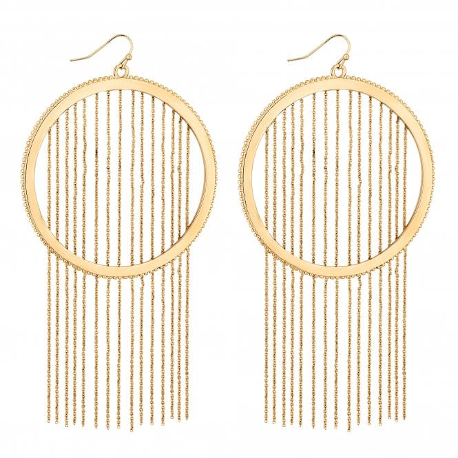 Gold Chain Fringed Hoop Drop Earring