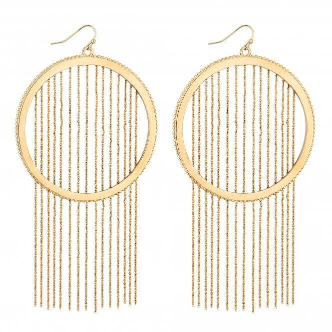 Gold Chain Fringed Hoop Drop Earring