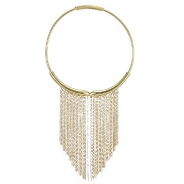 Gold chain tassel collar necklace