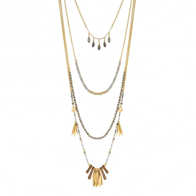 Gold Charm Multi Row Necklace