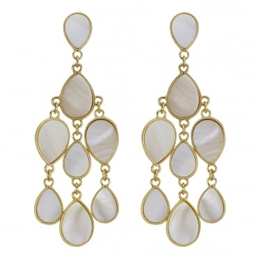 Gold cream shell peardrop earring