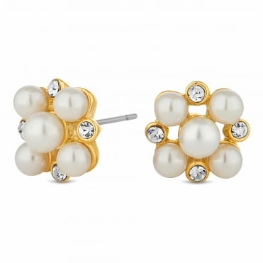 Gold crystal and pearl earring