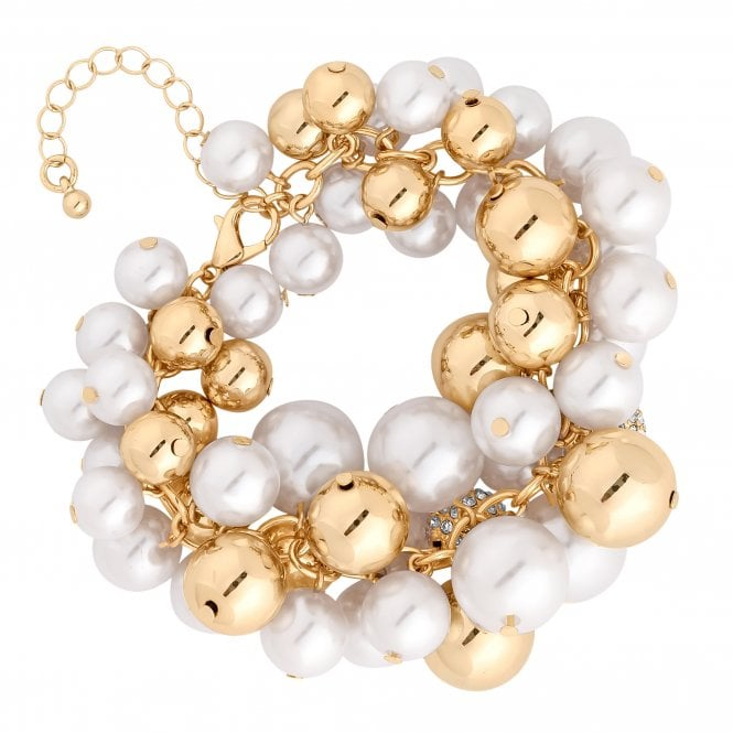 Gold Crystal And Pearl Orb Bracelet