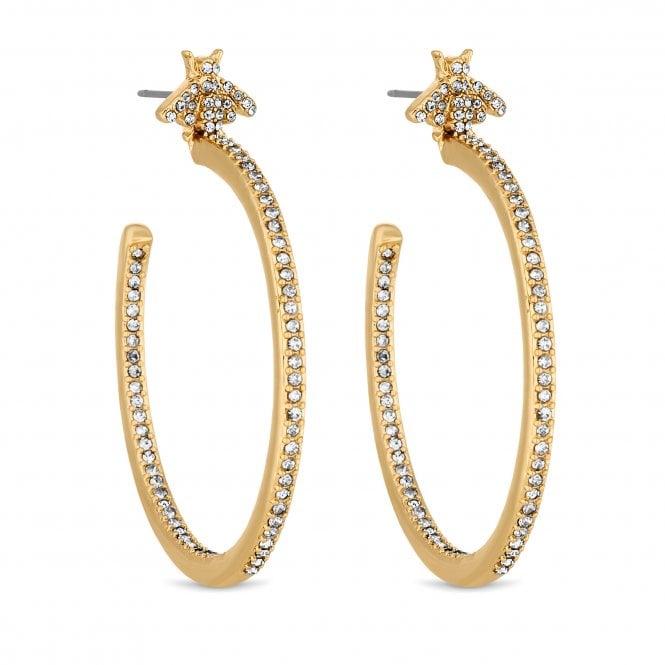Gold Crystal Bee Hoop Earring