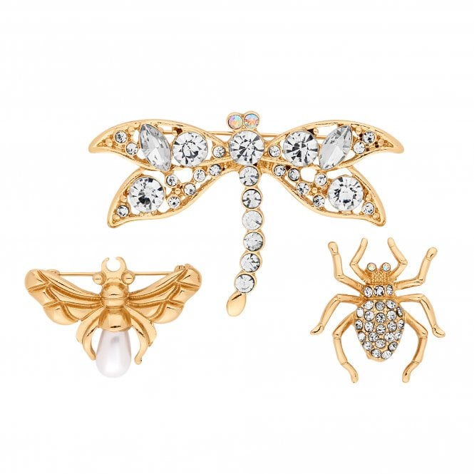Gold Crystal Bug Brooch Set