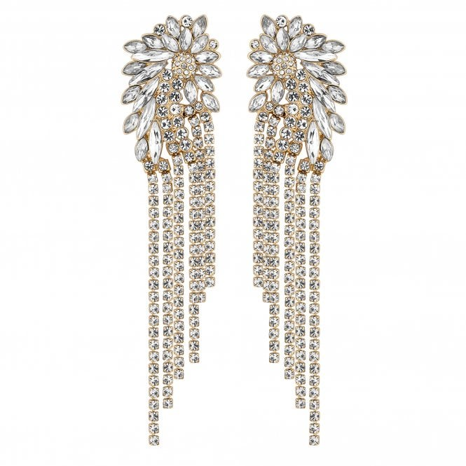 Gold Crystal Cluster Diamante Shower Earring