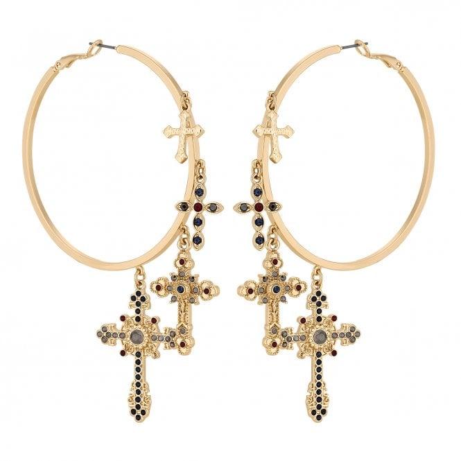 Gold Crystal Cross Charm Hoop Earring