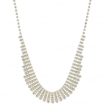 Gold crystal diamante choker necklace