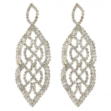 Gold crystal diamante lattice earring