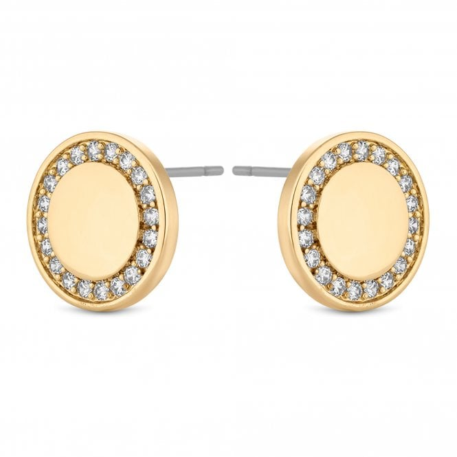 Gold Crystal Disc Stud Earring