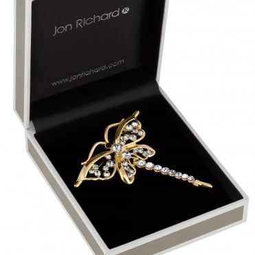 Gold crystal dragonfly brooch