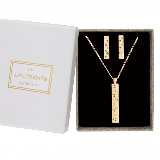 Gold Crystal Embellished Bar Jewellery Set In A Gift Box