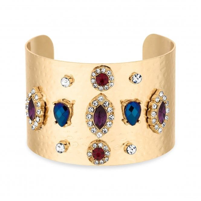 Gold Crystal Embellished Chunky Bangle