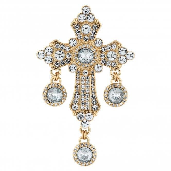 Gold Crystal Encrusted Cross Brooch