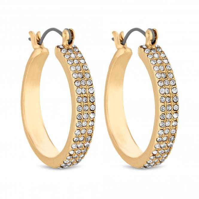 Gold Crystal Encrusted Hoop Earring