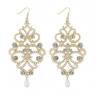 Gold crystal filigree earring
