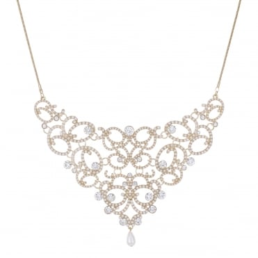 Gold crystal filigree necklace