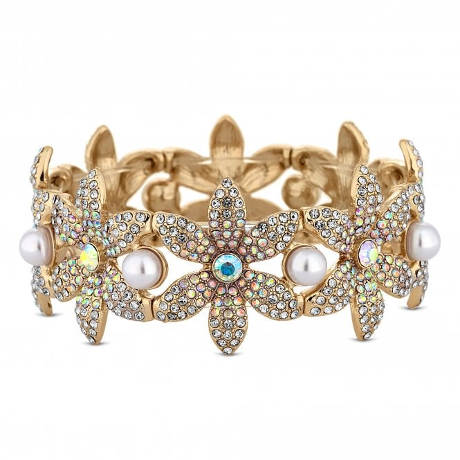 Gold Crystal Floral Statement Bracelet