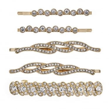 Gold crystal hair clip set