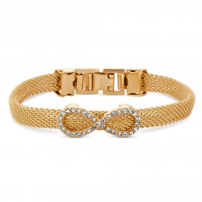 Gold Crystal Infinity Charm Mesh Bracelet
