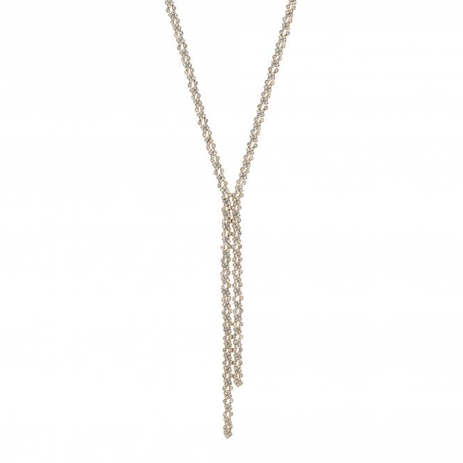 Gold Crystal Lariat Necklace