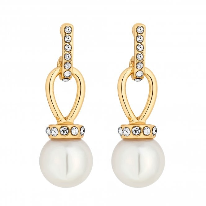 Gold Crystal Loop And Pearl Drop Earring