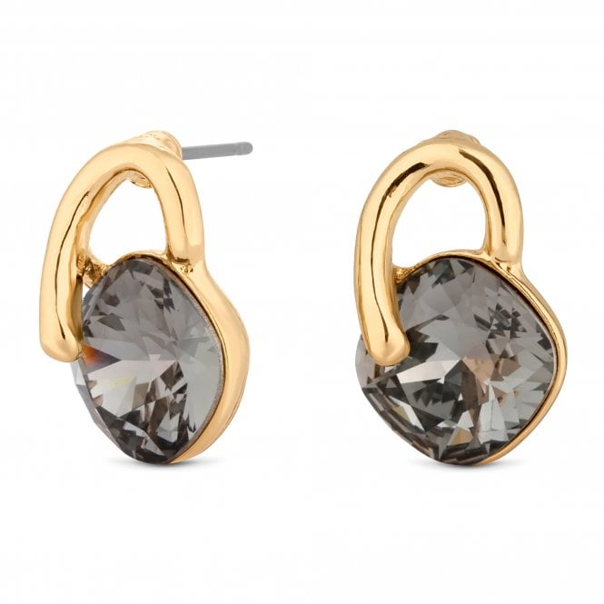 Gold Crystal Loop Stud Earring Embellished With Swarovski Crystals