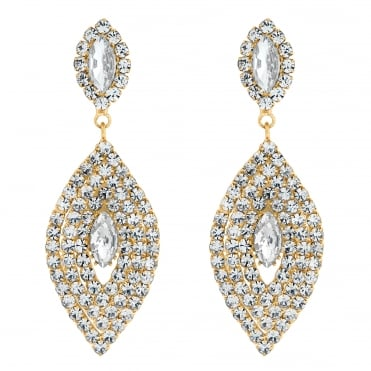 Gold crystal multi navette drop earring