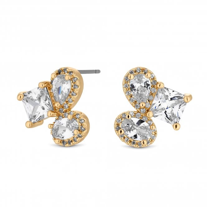Gold Crystal Multi Shape Cluster Stud Earring