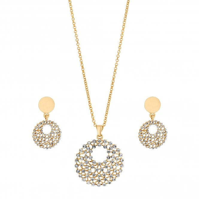 Gold Crystal Open Disc Jewellery Set