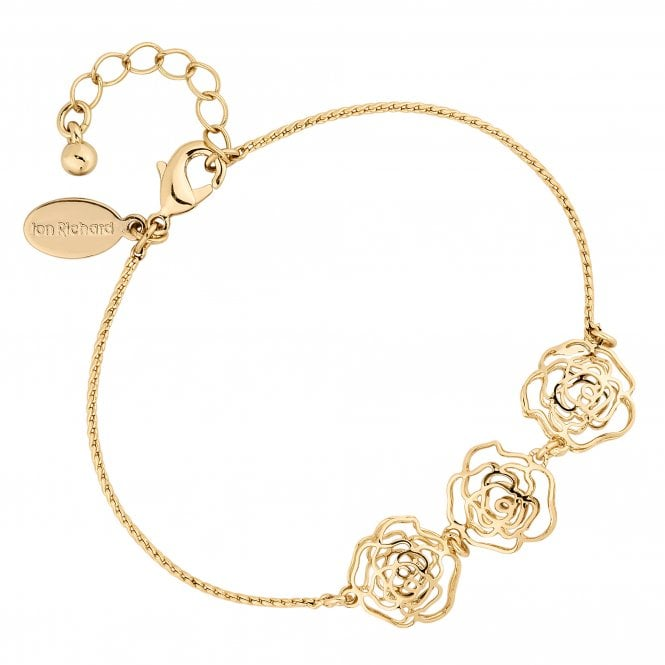 Gold Crystal Open Rose Bracelet