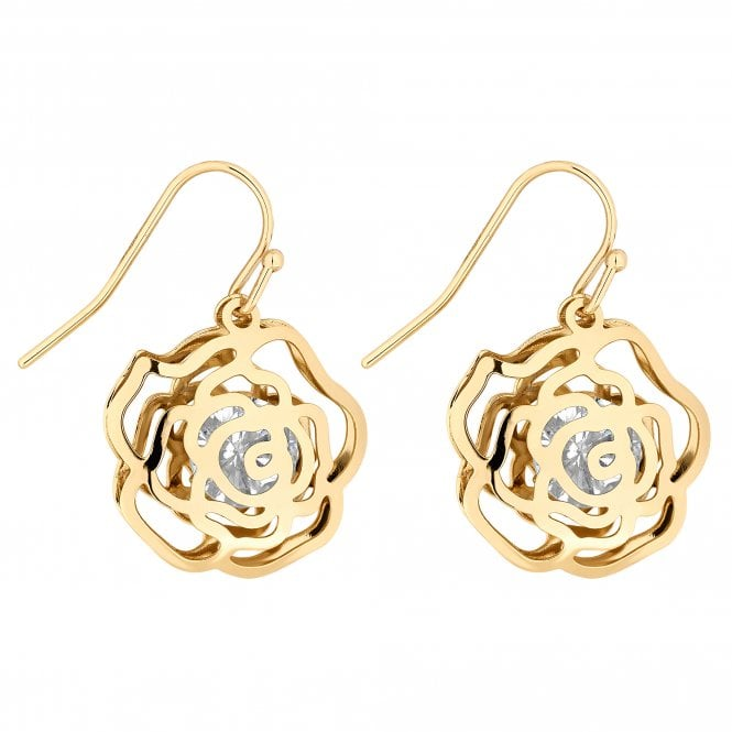 Gold Crystal Open Rose Drop Earring