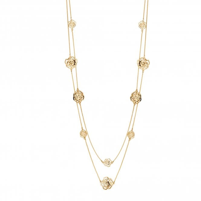 Gold Crystal Open Rose Long Necklace